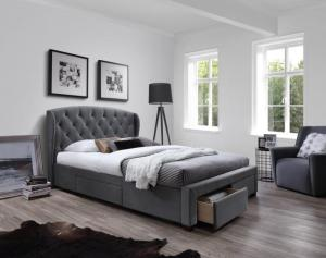 Postel SABRINA 160x200 cm s úložným prostorem + matrace šedá Halmar