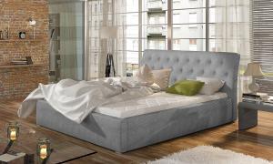 NABBI Monzo 200 čalúnená manželská posteľ s roštom svetlosivá (Paros 05)