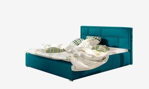NABBI Liza UP 140 čalúnená manželská posteľ s roštom tyrkysová