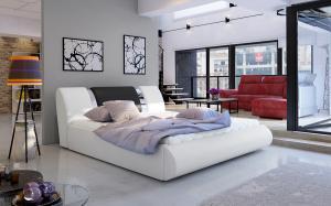 NABBI Folino 140 čalúnená manželská posteľ s roštom biela / čierna