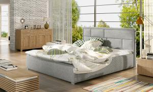 NABBI Liza UP 140 čalúnená manželská posteľ s roštom svetlosivá (Sawana 21)