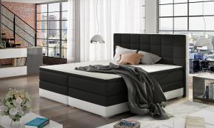 NABBI Dalino 180 čalúnená manželská posteľ s úložným priestorom čierna / biela