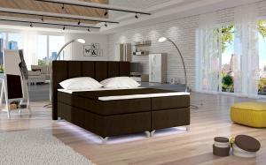 NABBI Barino 160 čalúnená manželská posteľ s úložným priestorom tmavohnedá (Sawana 26)