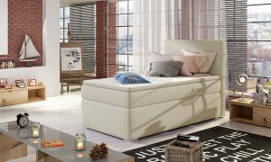 NABBI Rodrigo 90 čalúnená jednolôžková posteľ s úložným priestorom béžová