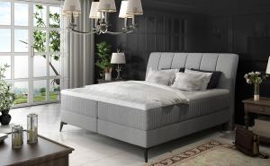 NABBI Altama 140 čalúnená manželská posteľ s úložným priestorom svetlosivá (Sawana 21)