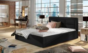 NABBI Rovigo UP 180 čalúnená manželská posteľ s roštom čierna