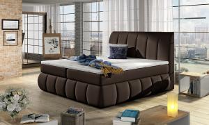NABBI Vareso 160 čalúnená manželská posteľ s úložným priestorom tmavohnedá (Soft 66)