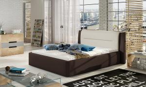NABBI Portima 140 čalúnená manželská posteľ tmavohnedá (Soft 66) / béžová (Soft 33)