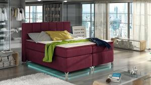 NABBI Barino 140 čalúnená manželská posteľ s úložným priestorom bordová