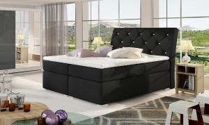 NABBI Beneto 140 čalúnená manželská posteľ s úložným priestorom čierna (Sawana 14)