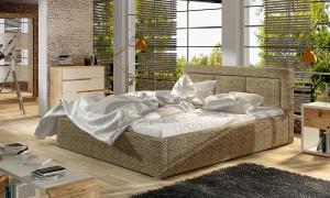 NABBI Branco UP 160 čalúnená manželská posteľ s roštom cappuccino