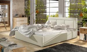 NABBI Branco UP 160 čalúnená manželská posteľ s roštom béžová