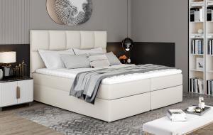 NABBI Grosio 145 čalúnená manželská posteľ s úložným priestorom béžová