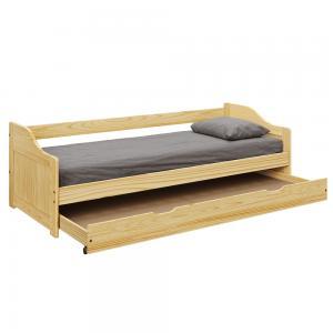 TEMPO KONDELA Laura New drevená jednolôžková posteľ s prístelkou prírodná