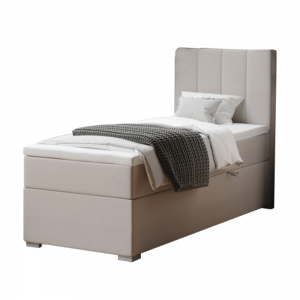Boxspringová posteľ, jednolôžko, taupe, 90x200, pravá, BRED