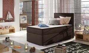 NABBI Rodrigo 90 L čalúnená jednolôžková posteľ s úložným priestorom tmavohnedá