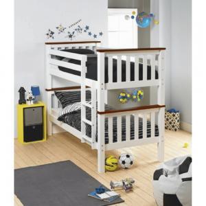 KONDELA Rowan New drevená poschodová posteľ s roštami 90x200 cm biela / hnedá