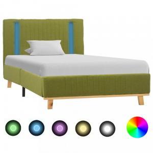 Posteľ s LED svetlom zelená látka Dekorhome 160 x 200 cm #3 small