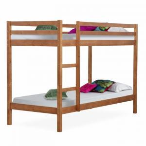 Poschodová posteľ, borovicové drevo svetlohnedá, VERSO