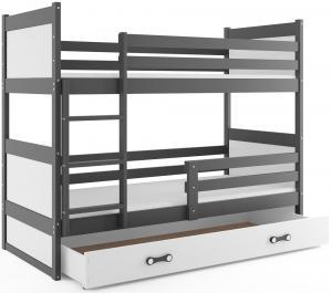 BMS Detská poschodová posteľ RICO / SIVÁ 190x80 Farba: Biela