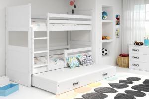 BMS Detská poschodová posteľ s prístelkou RICO 3 / biela 160x80 cm Farba: RICO3/160/BIELA/BIELA
