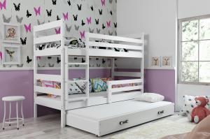 BMS Detská poschodová posteľ s prístelkou ERYK 3 | biela Farba: Biela / biela, Rozmer.: 160 x 80 cm