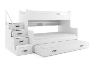 BMS Detská poschodová posteľ Max 3 s prístelkou Farba: Biela