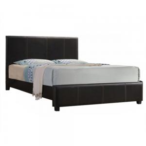 Manželská posteľ, tmavohnedá ekokoža, 180x200, ATALAYA